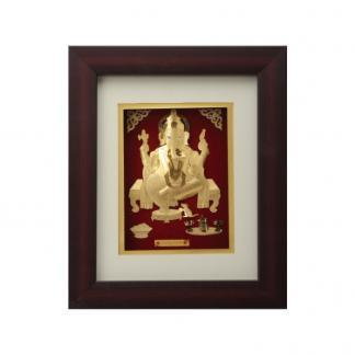 Ganesh Idol of Gold Foil with Frame. Exclusive corporate gift. We provide corporate gifts in silver and gold. A leading brand in India.