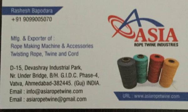 Plz contact for rope making machine in India - by ASIA ROPE TWINE INDUSTRIES, Ahmedabad