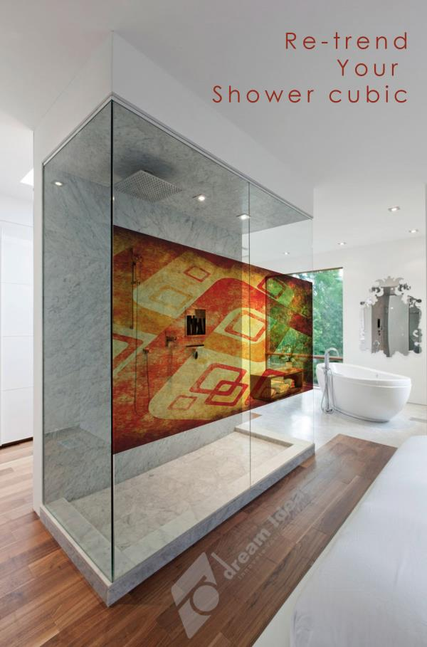 Digital graphics for Shower Cube glass surface to prop up your interiors, giving your space a unique trendy. Reach us for more ideas : info@dreamideas.in