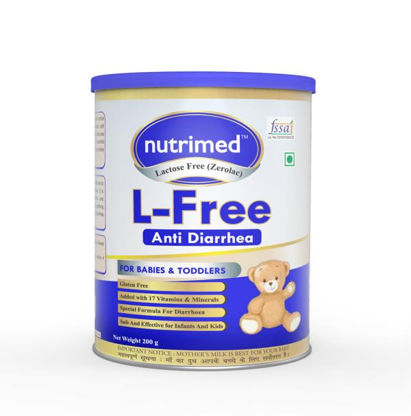 L-Free - Lactose free baby milk powder (Anti diarrhea infant milk formula) India's best baby foods and cereals in Delhi. Contract manufacturing available for baby foods, cereals, anti diarrhea, infant milk formula - stage 1, stage 2 Available in 200 gms tins, 400 gms tins, 1 kg tins.
