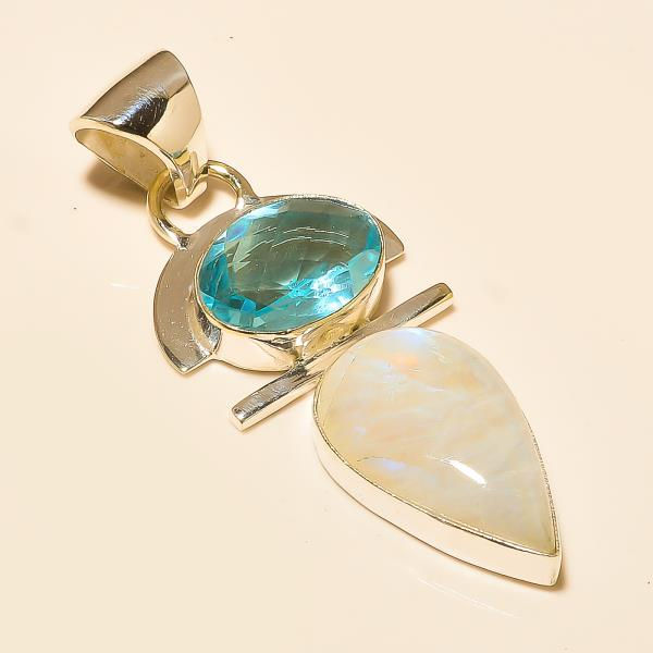 Blue Topaz Rainbow Moonstone 925 Silver Pendant in india  - by Ahan Jewels, Jaipur