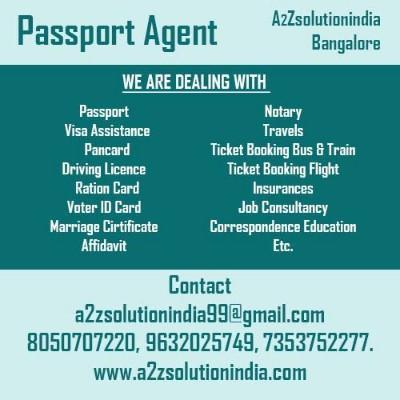 best service provider for all your passport and marriage certificate through out bangalore. - by A2Z Solutionindia.com, Bangalore