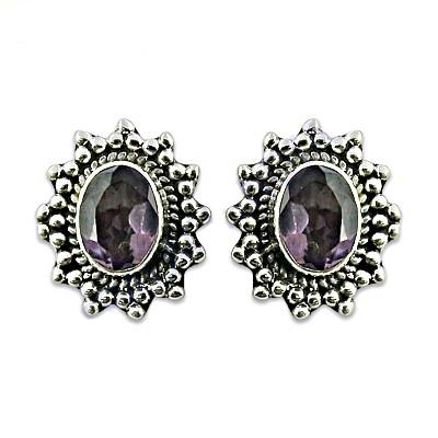 Hot Designer Amethyst Gemstone Silver Earrings Product Code:AGER-20834 Our Price:        US $ 5.21 Per Pair Total Gross Wt:4.2 Gms  #NewArrival2016NaturalAmethystGemstoneSliverStudEarring #NaturalAmethystGemstoneEthnicDesign925SterlingS - by Art Palace Manufacturer Of Jewellery, Jaipur