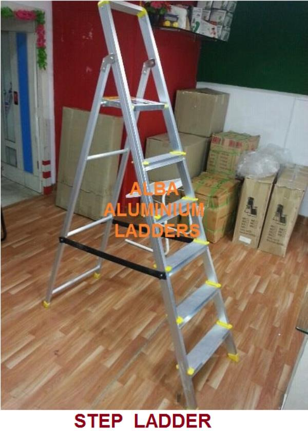 Domestic ladders Step Ladder in hyderabad Model No: 0100 This folding aluminum step ladder in balanagar adopts light weight design and it can be used easily by women, the ropes between front and rear frame provide more strength for the ladder.  Our step ladder can be folded easily and it does not take too much place. S.S.parts fitted hence, Pvc Shoes, Non slip steps 80mm Household ladder, Compact and simple,  Light weight and high quality Easy to storage, Easy to carry.