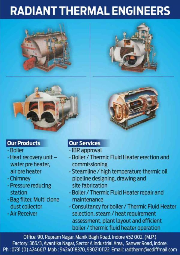 manufacturing steam boilers in Indore