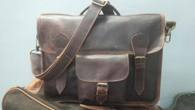 man's leather laptop bag with trendy designs