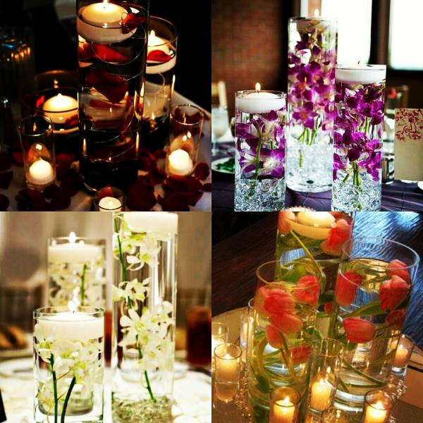 Table centerpieces with elegant vases.  Design your get together with candles, roses, Orchids and Tulips