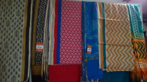 hand made sari, dress material available in sejal handicrafts in Vadodara, Gujarat.