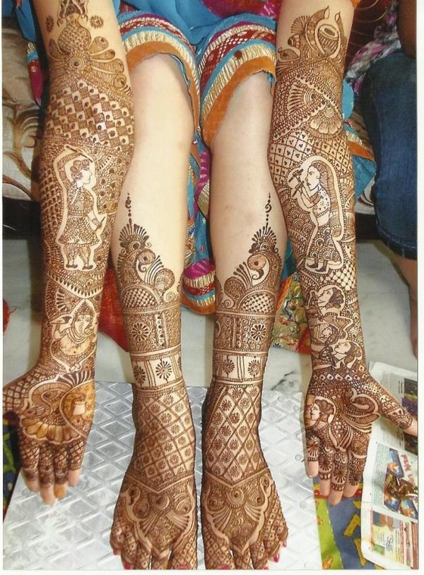 "Bridal Mehndi it is a wedding ritual in Asian countries and religious time for a girl. She never going to lose this precious opportunity of styling palms and feet by beautiful bridal mehndi designs and Bridal Mehndi is one of the very important factors of the marriage and for all ladies who is attending the ceremony. Bridal mehndi offers a delightful look to the bride. Bridal Mehndi is ritual tradition in countries like India, Pakistan. Stunning and classy Bridal Mehndi Designs in brides hand is named as ""SHAGUN"" it's assumed that the color of the mehndi shine bride's life.  Best Mehandi Designer in delhi"