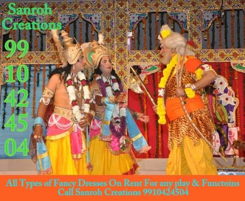 Costumes on rent Delhi-NCR - Sanroh Creations, Fancy Ramleela Dresses In Delhi, NCR , Ramleela Drama Dress On Rent In South Delhi for Kids and Adults for Ramleela Plays, School functions, Street Functions, Commette Functins, corporate events in Vasant Vihar Call Sanroh Creations 9910424504