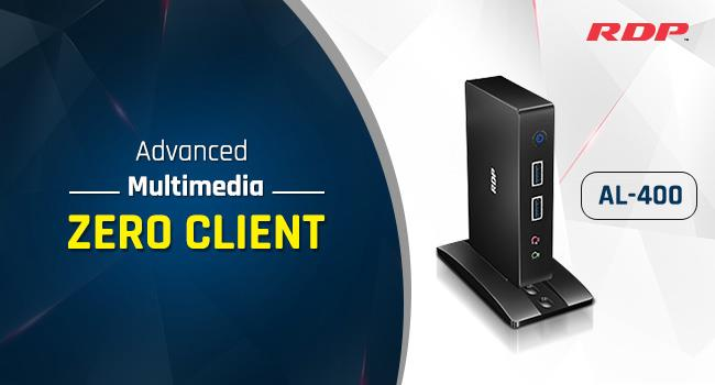 Cost Effective Multimedia Zero Client - AL-400  Thin Clients in Mumbai | Thin Client Solutions in Mumbai | What is Thin Clients   RDP the leading Computer Hardware Company introduced cost effective Multimedia Zero Client AL-400, RDP Zero Clients are easy to configure, deploy and manage with outstanding performance.  AL-400 comes with numerous I/O ports 4 USB 2.0, 1 RJ45, 1 VGA and Mic-In, Spk-out. It can play full HD videos by 1920 x 1080 video resolution and it works as a central purpose-built server and can connect up to 100 clients. It consumes very little power 5 watts during full operation. The device comes with ⅓ of PC price and with 3 years warranty.  Through AL-400 Multiple end users can use different applications at the same time from one computer each with their own monitor, keyboard and mouse for just 7875/- Many schools, colleges are moving to Zero Clients to have a single point of administration by this it reduces overall administration costs, With a Zero Client the teacher can share files to all students and monitor the student workstation from the administrator itself instead of visiting individual student and students can simply switch on the display and begin working in a few seconds instead of waiting for computer boots and applications load and students can experience high quality video play to enhance a diverse way for learning and teaching.
