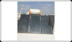 solar water heater manufacturer in Vadodara Gujarat. we are leading supplier in Surat Baruch Anand Gujarat.  The absorber consists of a thin absorber sheet (of thermally stable polymers, aluminum, steel or copper, to which a matte black or selective coating is applied) often backed by a grid or coil of fluid tubing placed in an insulated casing with a glass or polycarbonate cover. In water heat panels, fluid is usually circulated through tubing to transfer heat from the absorber to an insulated water tank. This may be achieved directly or through a heat exchanger. Most air heat fabricators and some water heat manufacturers have a completely flooded absorber consisting of two sheets of metal which the fluid passes between. Because the heat exchange area is greater they may be marginally more efficient than traditional absorbers.  As an alternative to metal collectors, new polymer flat plate collectors are now being produced in Europe. These may be wholly polymer, or they may include metal plates in front of freeze-tolerant water channels made of silicone rubber. Polymers, being flexible and therefore freeze-tolerant, are able to contain plain water instead of antifreeze, so that they may be plumbed directly into existing water tanks instead of needing to use heat exchangers which lower efficiency. By dispensing with a heat exchanger in these flat plate panels, temperatures need not be quite so high for the circulation system to be switched on, so such direct circulation panels, whether polymer or otherwise, can be more efficient, particularly at low light levels.  Some early selectively coated polymer collectors suffered from overheating when insulated, as stagnation temperatures can exceed the melting point of the polymer.[2][3] For example, the melting point of polypropylene is 160 °C (320 °F), while the stagnation temperature of insulated thermal collectors can exceed 180 °C (356 °F) if control strategies are not used. For this reason polypropylene is not often used in glazed selectively coated solar collectors. Increasingly polymers such as high temperate silicones (which melt at over 250 °C (482 °F)) are being used. Some non polypropylene polymer based glazed solar collectors are matte black coated rather than selectively coated to reduce the stagnation temperature to 150 °C (302 °F) or less.  In areas where freezing is a possibility, freeze-tolerance (the capability to freeze repeatedly without cracking) can be delivered by the use of flexible polymers. Silicone rubber pipes have been used for this purpose in UK since 1999. Conventional metal collectors are vulnerable to damage from freezing, so if they are water filled they must be carefully plumbed so they completely drain down using gravity before freezing is expected, so that they do not crack. Many metal collectors are installed as part of a sealed heat exchanger system. Rather than having the potable water flow directly through the collectors, a mixture of water and antifreeze such as propylene glycol (which is used in the food industry) is used as a heat exchange fluid to protect against freeze damage down to a locally determined risk temperature that depends on the proportion of propylene glycol in the mixture. The use of glycol lowers the water's heat carrying capacity marginally, while the addition of an extra heat exchanger may lower system performance at low light levels.  A pool or unglazed collector is a simple form of flat-plate collector without a transparent cover. Typically polypropylene or EPDM rubber or silicone rubber is used as an absorber. Used for pool heating it can work quite well when the desired output temperature is near the ambient temperature (that is, when it is warm outside). As the ambient temperature gets cooler, these collectors become less effective.