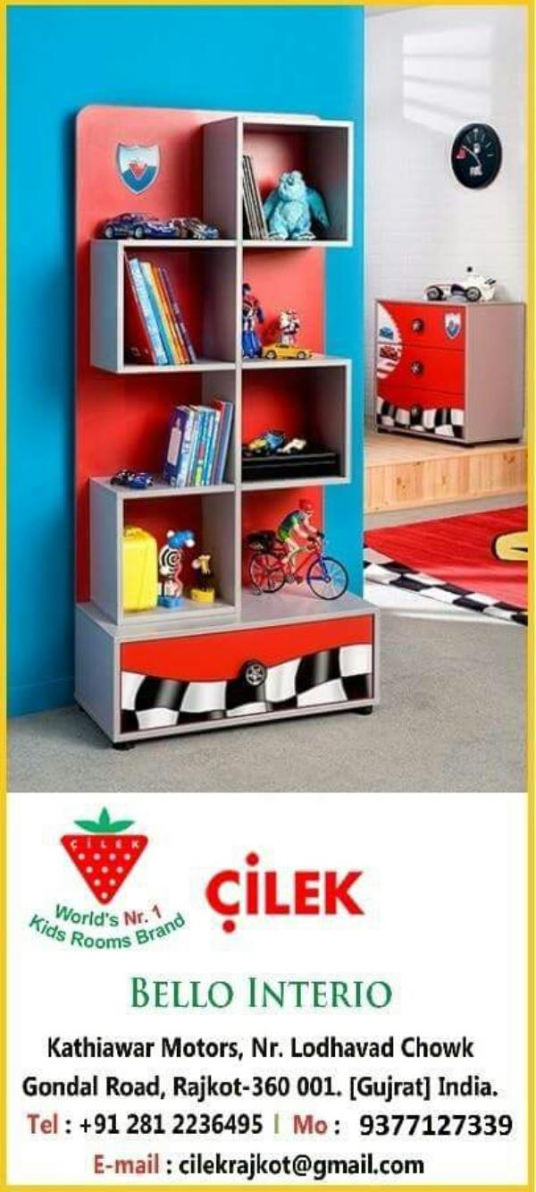cilek's RACER SERIES BOOKCASE HAS EXCITING FEATURES LIKE SPACIOUS COMPARTMENTS & DRAWER ALONG WITH AMAZING GRAPHICS & WHEEL SHAPE HANDLE. - by KK Enterprise, Rajkot