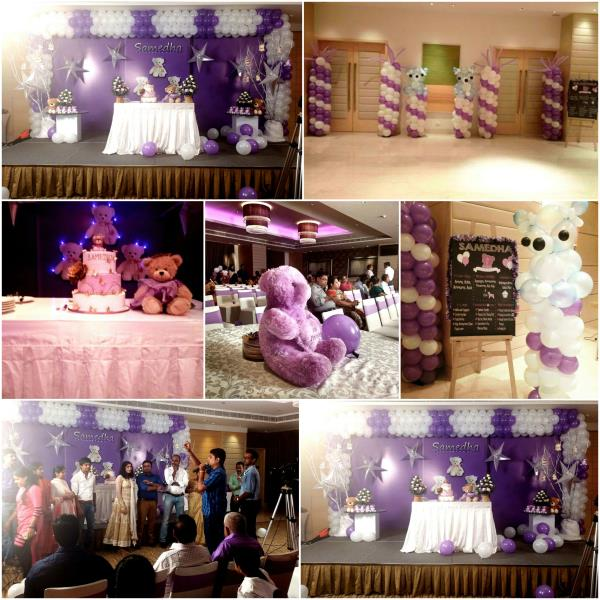 Thanks to Mom & Dad of Samedha for giving us such a wonderful & Creative opportunities. Theme - Teddy Bear theme Party Color Theme - Purple & White Scope of work: Invitation Design, Stage Design, Avenue Decor / Balloon Decor, Candy Stall, Tattoo Artist, Game Show, Return Gifts #ureventplanner #midorevents #midorentertainment www.midor.in