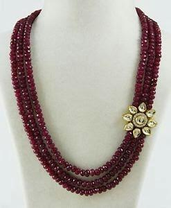 real ruby beads with kundan  - by TKD Jewellers, Hyderabad