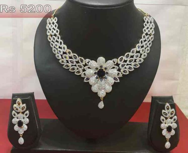 Cz necklace set  - by TKD Jewellers, Hyderabad