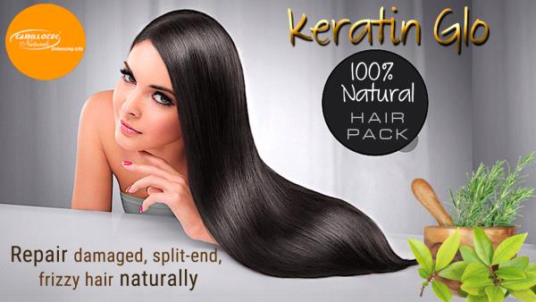 Keratin Glo - Conditioning Hair Pack 100% Natural Herbal Hair Pack  Building hair regrowth naturally. Made with unique formulation of natural herbs. It makes your hair healthy, bouncy and more shinny. Very good for dandruff and stop hair fall.  The content of Keratin Glo Hair Pack helps replenish the moisture in your hair, leaving it frizz-free and beautifully sleek.  Main Ingredients:  Henna, Green Tea, Rita Soap Nut, Hibiscus Flower, Rose Flower, Amla, Tripala Powder and Badam.   How to use: Hot oil massage for few minutes. Apply Keratin glo hair pack & wait for 30 minutes. Rinse thoroughly with warm water.