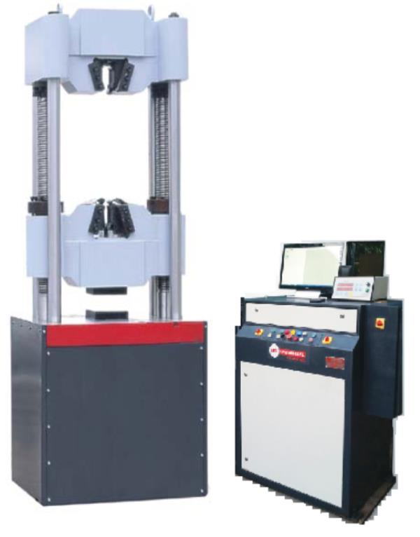 Servo Control Digital + Computerized Universal Testing Machine Model MUTCS-100 HG -	Capacity 1000 kN -	6 COLUMN TYPE (2 screw + 4 Column) -	Least Count: 0.01 kN -	Resolution of Piston Movement: 0.01 mm -	Load Range in kN with accuracy of measurement ± 1%: 24-1000 -	Maximum Tensile Clearance: 50 to 850 mm -	Maximum Compression Clearance: 850 mm -	Distance between columns: 700 mm -	Piston Stroke: 250 mm -	Max. straining speed at no load: 80 mm/min -	Power Supply: AC 3 Phase, 415 volts, 50 Hz -	With One set of standard accessories for Tensile, Compression and Transverse Test Attachment as per catalogue -	Serial Interface to Connect PC & Printer -	Software CD -	Highly machined screws -	Open Crossheads -	Hydraulic Gripping with wireless remote control -	Imported highly accurate pressure compensated servo valve with Potentiometer -	Touch screen monitor interface with advanced software for analysis -	Electronic Extensometer strain gauge type 25 & 50 mm Gauge Length with 2 mm extension.