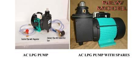 LPG AC PUMP MANUFACTURER IN HYDERABAD WE ARE LEADING MANUFACTURER, EXPORTER AND SUPPLIERS OF LPG PUMPS. WE HAVE WIDE RANGE OF LPG PUMP.Motor Specifications 0.5 hp x 1450 rpm , NON FLAME PROOF MOTORS PROOF MOTORS TOTTALY ENCLOSED FAN COOLED SQUIRREL CAGE INDUCTION MOTORS HORIZONTAL FOOT MOUNTED B3 CONSTRUCTION, CONTINUES RATED S1 DUTY SUITABLE FOR SINGLE PHASE , 220 VOLTS AND 50Hz , AC SUPPLY (110 VOLTS AND 60 Hz AVAILABLE ON REQUEST) WITH AMBIENT 45ºc & CLASS