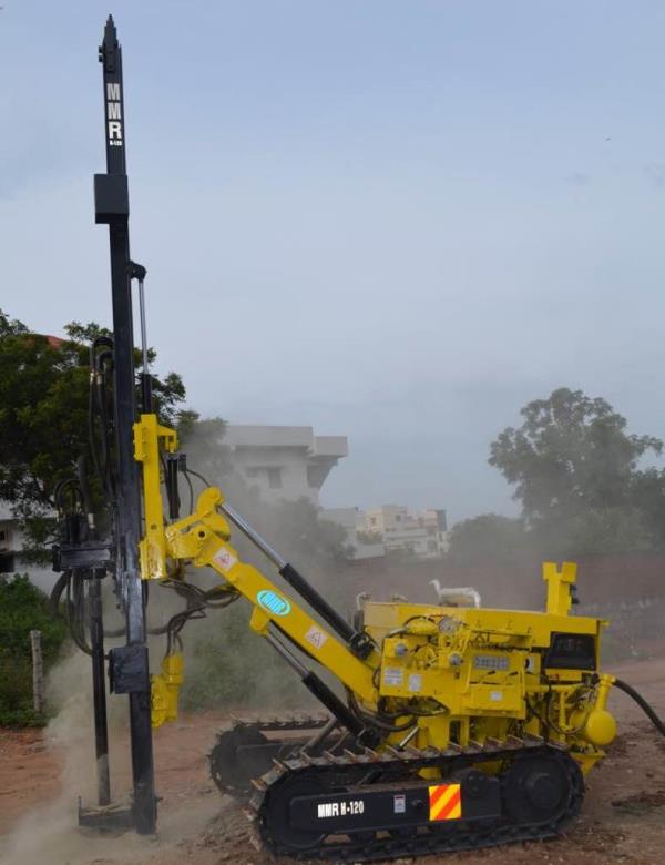 MMR H-120 hydraulic cawler drill Hydraulically operated Crawler mounted DTH drilling rig capable of handling10 feet drill rod .  For more details contact :- 8885758880