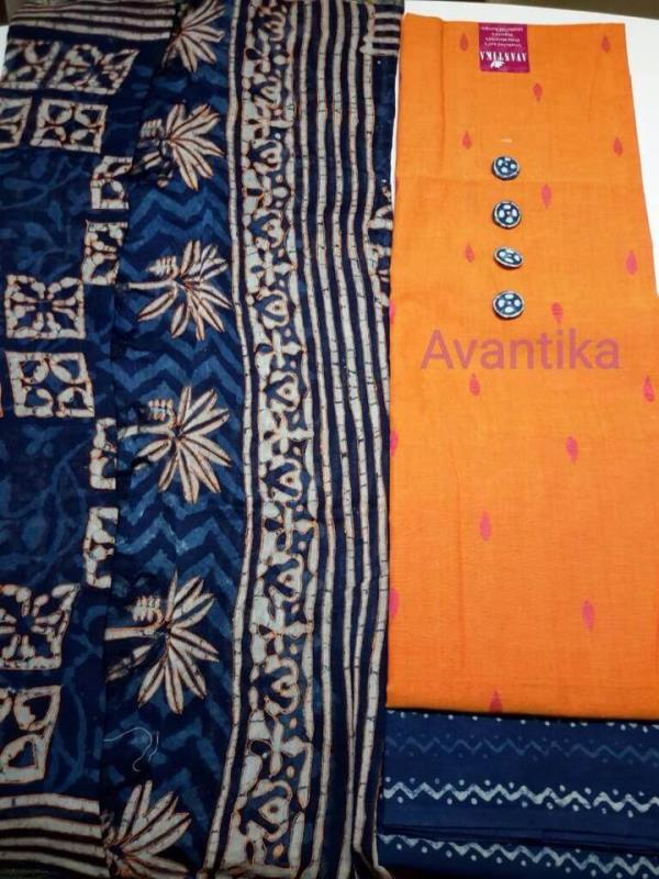 Look what's back in stock !  Top: handloom cotton approx 2.5mtr cut Dupatta : Maheshwari silk Dabu printed indigo  Salwar: 100% cotton Dabu printed cotton approx 2.5mtr cut  For buying yours kindly get in touch through WhatsApp on 997974941 - by Avantika, Ahmedabad - Gujarat
