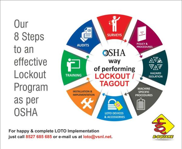 Our 8 Steps to an effectice Lockout Tagout Program as per OSHA  E-Square Alliance Pvt Ltd - 98110 76259