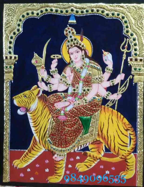 tanjore painting durga devi  tanjore painting classes in hyderabad  tanjore painting materials in hyderabad  tanjore painting online sales  tanjore teaching classes in hyderabad  - by Shantha Painting Institution, Hyderabad