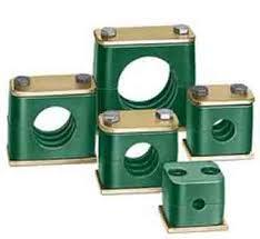 Polypropylene hydraulic clamps   Global Transmission offers a range of Pipe Clamps manufactured by Global  Clamping of pipes in installations is required to dampen vibrations, provide support to the installation and prevent loosening of the joints/welds. Our Clamps, with their unique 4-rib construction design, prevent the transmission of vibrations from the pipe to the frame and vice-versa. They also provide rigid support to the pipe, both in lateral and longitudinal directions, relieving stresses caused by unequal movements in the pipeline. The material of the pipe clamps differs to suit working conditions - from relatively cold conditions to temperatures up to 500C.  Heavy Duty Pipe Clamps Heavy Duty Pipe Clamps are used in installations where heavy pipes and high vibrations are encountered. They are invariably used for trench layout of pipes and in open-weather conditions. Heavy Duty Pipe Clamps are available with weld plate mounting for all sizes and for channel mounting with special