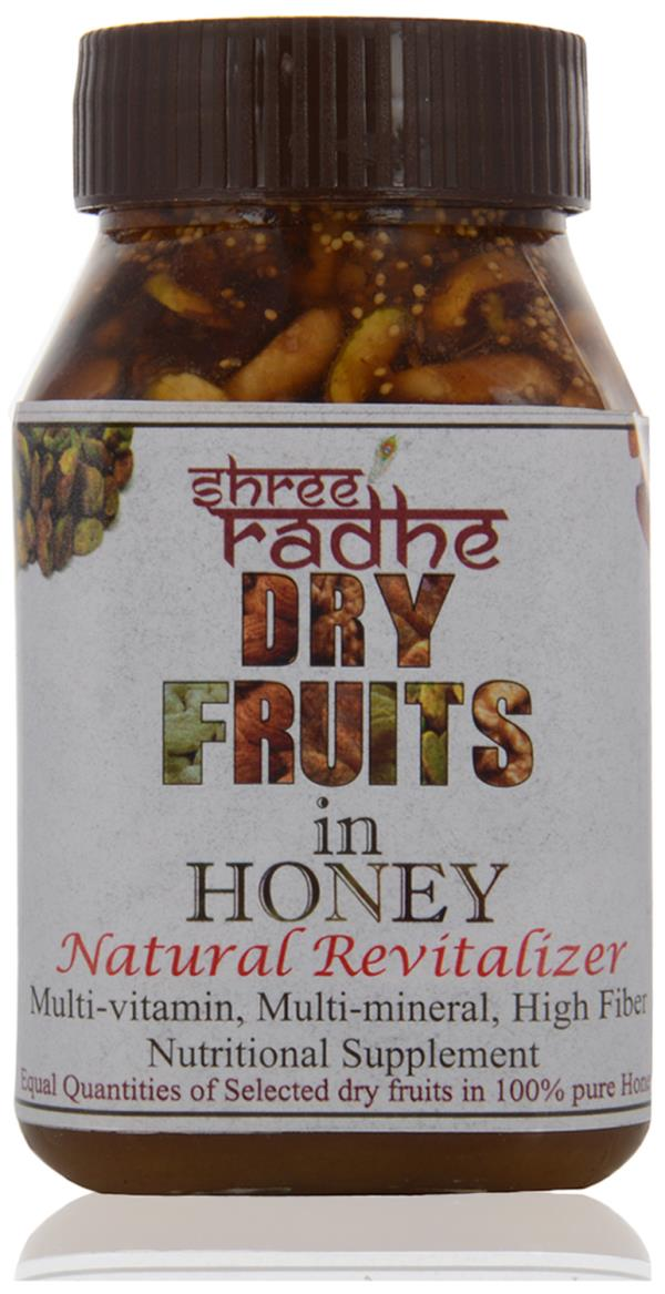 DRY FRUIT WITH HONEY THE BEST DIWALI GIFT. YOUR REQUIREMENT PL. CONTACT US.                     We offer Dry Fruit Honey. It is hygienically processed using high quality walnuts, pistachio, almonds, raisins, fig and cashew selected, cleaned, chopped and dispensed in natural honey (We add equal quantity of each dry fruits). It is highly safe and useful for all kind of weakness. . Because of high quality we cant offer competitive rates.   Available Packing:   •500 gms   Features:   •Premium quality dry fruits   •Pure & natural honey