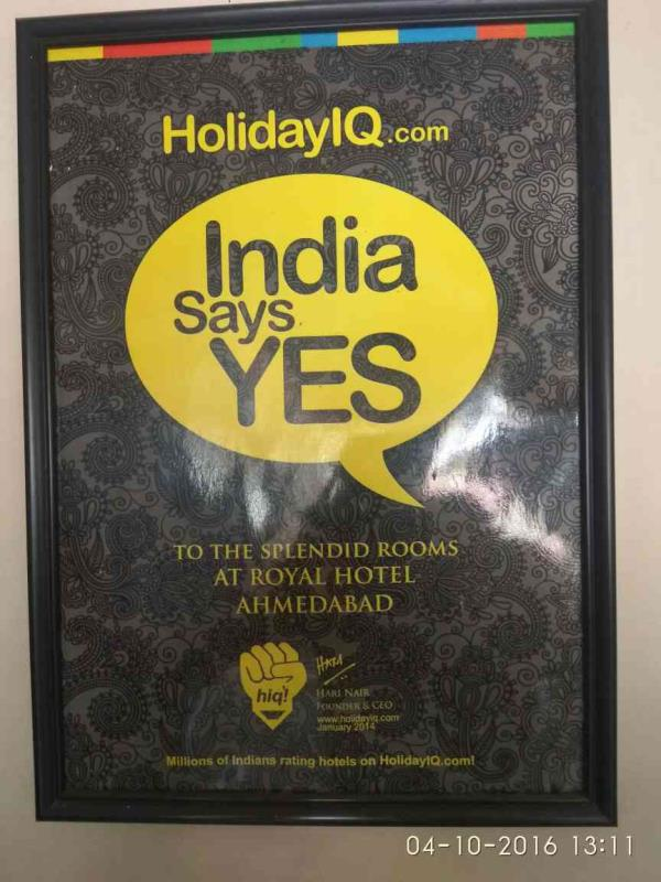 We got certified by HolidayIQ.com. India say yes to hotel royal - by Hotel Royal, Ahmedabad