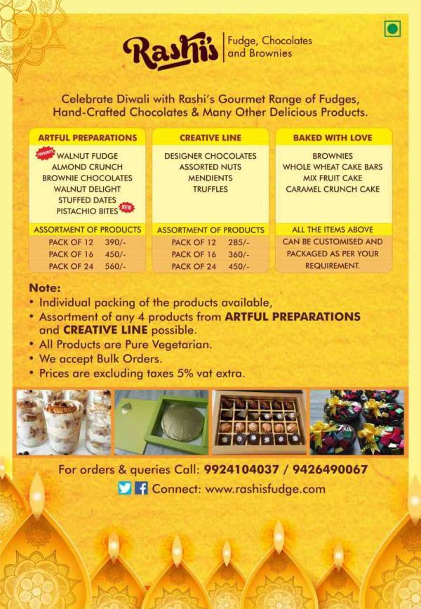rashis product list for this Diwali  - by Rashis Fudge, Ahmedabad