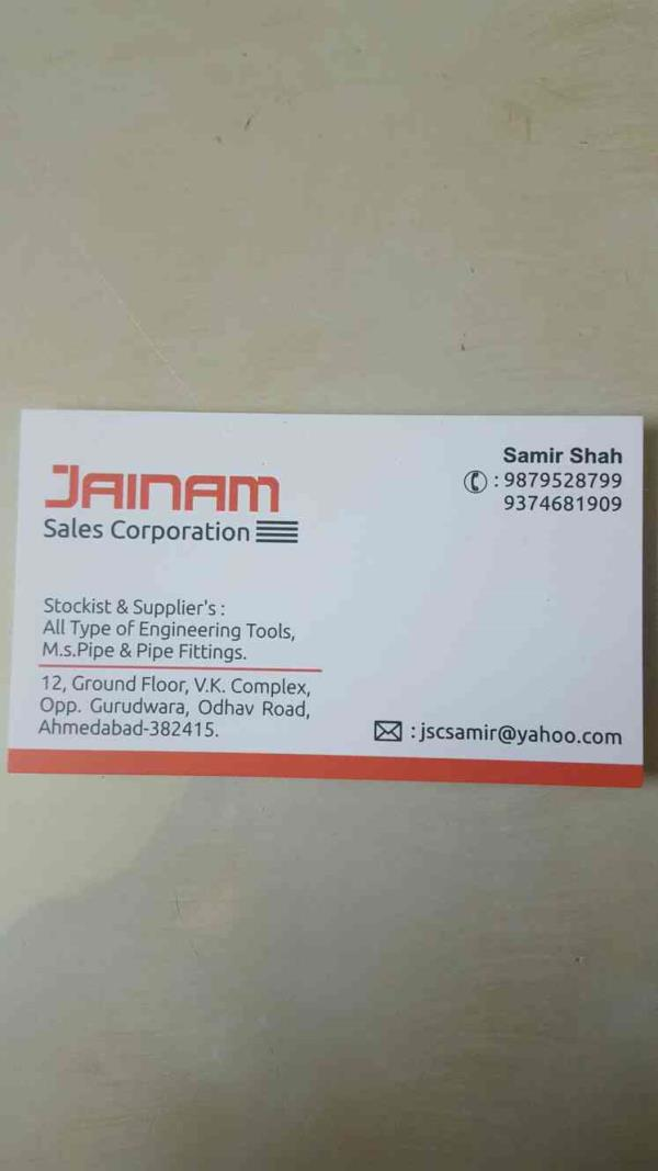 Jainam Sales Corporation is one of the Leading Traders and Stockist of All type of Engineering Tools in Ahmedabad city of Gujarat state.