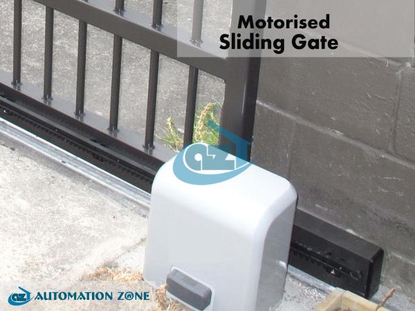 GATE AUTOMATION  MOTORIZED SLIDING GATE  Sliding gate automation are depends on gear teethes and moved by motor which make movement through its gear and worm. The Gate slides on sliding track which is made by steel rod. Automation of gates  - by Automation Zone, Coimbatore