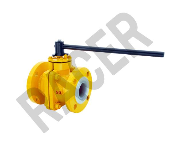 FEP/PFA LINED BALL VALVES, WITH TWO PIECE DESIGN, AND FLANGE ENDS TO ASA 150# DRILL, HAND LEVER OPERATED - by RACER VALVES, Ahmedabad