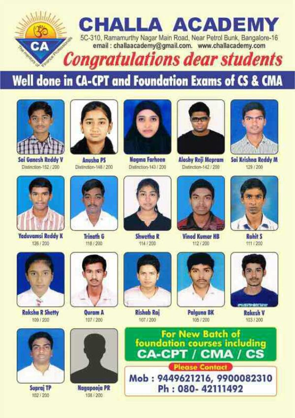 Coaching for CA, -IPCC New batch starts in Jan 17 targeting May 17 exams Morning & weekend batches conducted by highly qualified professionals. Max 25 per batch Regular Tests Run by a Charitable Trust Promoted by Sri Mahalingam Retd Group G - by Challa Academy PU College, Bengaluru