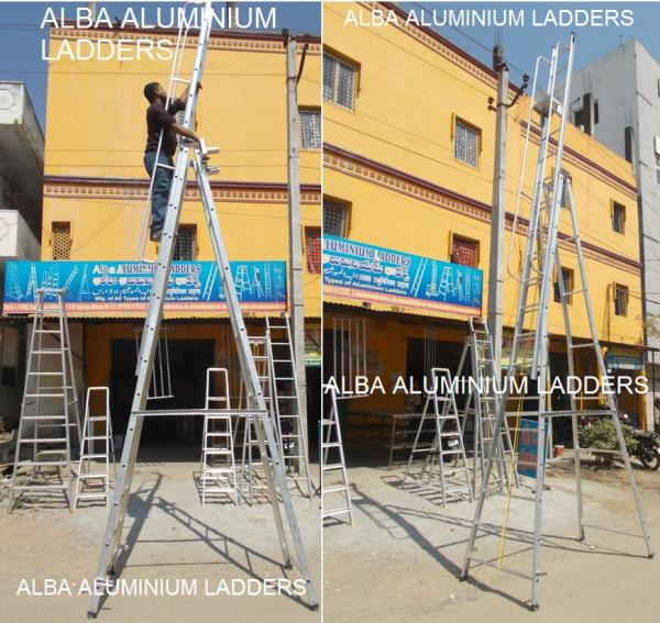 As a reputed manufacturer of Aluminum Ladder in khammam , our product renowned in the market for their water resistance nature and nominal costs. These  Aluminum Ladders are designed employing the advanced techniques and optimum material, w - by Alba Aluminium Ladders, Hyderabad
