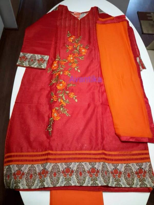 Celebrate upcoming karvachauth with this lovely red salwar suit in chanderi with chiffon dupatta ! Buy online now ! - by Avantika, Ahmedabad - Gujarat