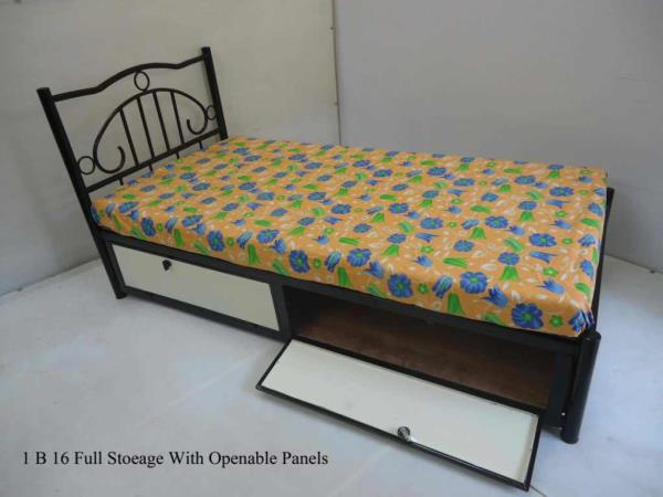 Metal or wrought iron single beds : Made from good quality CRCA pipes and Sheets and duly powder coated for excellent looks and long life . Available in storage and non storage models . A variety of designs to choose from which can be check - by Haitu Engineers, Pune