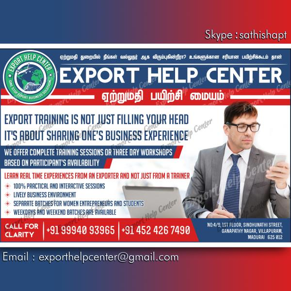 100% Practical Export Business Training in Madurai, Top Quality Export Training Centre in Madurai, Export Business Training Centre in Madurai, Real Time Experience Sharing Export Training Centre in Madurai