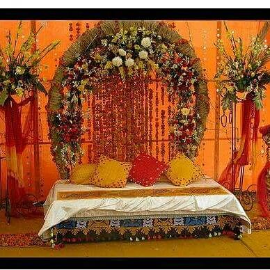 Beautiful stage for a mehndi function.  - by Super Tent House, New Delhi