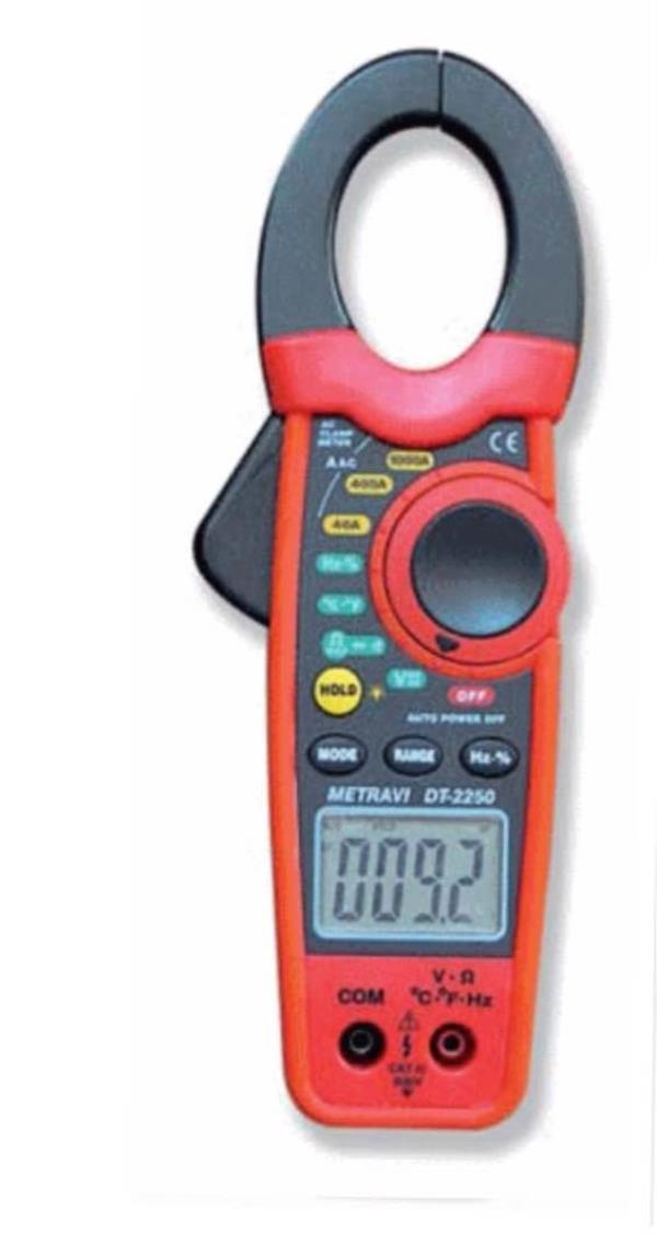 Metravi DT-2250 digital clamp meter   3-3/4 Digits, Backlit LCD, Data Hold, 30mm Jaw Size, AC/DC Voltage, AC Current up to 1000A, Resistance, Capacitance, Temperature, Frequency, Duty Cycle, Diode and Continuity Test Facility. 500V DC/AC Pr - by Tech 2 Tech, Chennai