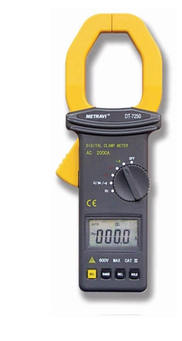 Metravi DT-7250 digital clamp meter   3-1/2 Digits, LCD, Data Hold, Auto-ranging, 57mm Jaw Size, AC/DC Voltage, AC Current up to 2000A, Resistance, Frequency, Duty Cycle, Diode & Continuity Test.  Description  Auto Power Off Data Hold Auto- - by Tech 2 Tech, Chennai