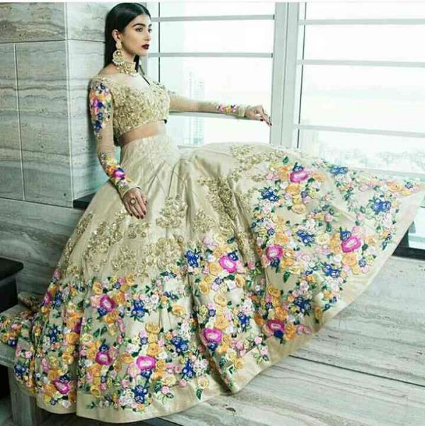 This beautiful design is one of the most awaited designs of the year..So finally we are done with this beautiful #choli_ghagra with amazing #embroidery on it..#floral #embroidery #multi #colors #weddings #parties...Grab this incredible trad - by STALLION THE DESIGN MAKER, Mumbai