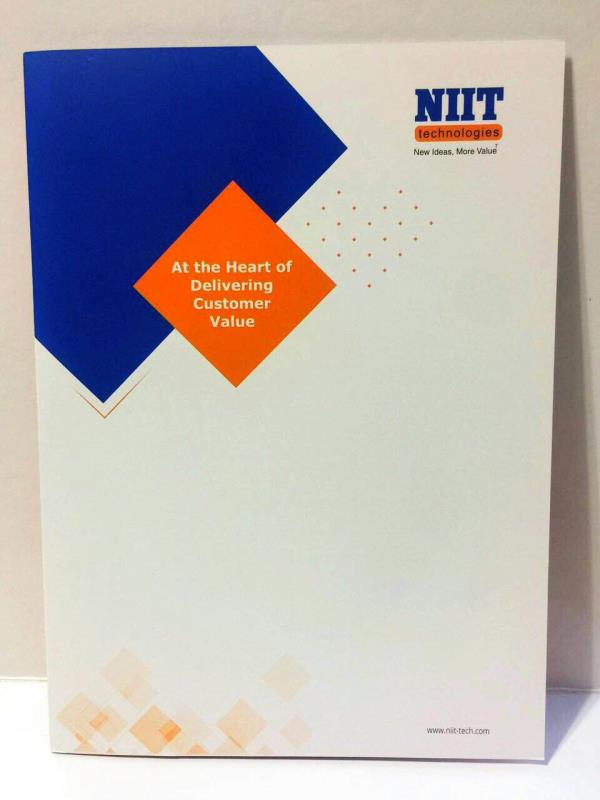 Folder Printing Services in Delhi Gurgaon & NCR - Excel Printers believes in delivering High Quality Printing Services to its clients. We have now printed Folder with product information Booklet and Leaflets for NIIT Marketing Division for their Overseas Clients. A beautiful Folder Four Colour printed on Card with Gloss Varnish. It has Pocket inside with additional Marketing Material. For more of your Press/ Conference Folder requirements or all of your Offset Printing Services requirements contact Excel Printers at http://www.excelprinters.com