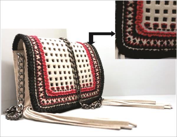 Manufacturer & Exporter Hi Fashion Leather and Fabric handbags, Small Leather Goods   New Development Cow Suede Laser cut Cross Body with Embroidery on edge.  Designed as per Fashion Forecast   We Bring You Latest Treatments as per your Requirements Bazaar Konnections is Happy To Develop For you