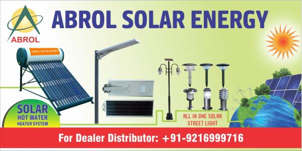 Solar Products in Chandigarh  ABROL Solar Energy is a diversified enterprise providing scientific and technological innovation, energy applications, and services, committed to the improvement of the living environment and international coop - by Abrol Group, Chandigarh