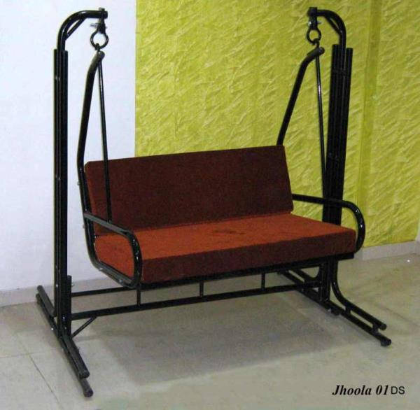 Metal Swings : Two seater metal swings or Jhoola as known locally .Suitable for 2 people and ideal to be placed in terrace flats . Available with and without canopy . Priced at Rs 7200=00 without the pair of mattress and at Rs 8800=00 with  - by Haitu Engineers, Pune