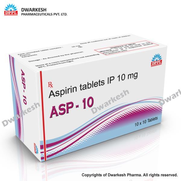 Dwarkesh Pharma is manufacturing Aspirin tablets IP 10 mg