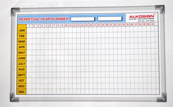 Yearly Planners in Goa.  AYP6090.  Yearly planners in panjim Goa.  Alkosign printed yearly planners available at Menezes Enterprises.  Hanging series aluminium frame-light weight.  Acrylic resin coated steel surface.  Accepts magnets.  Most - by Menezes Enterprises, Panjim