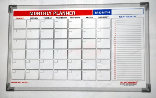 Monthly planners in Goa. AMP 6090.    Monthly planners in Panjim Goa.  Alkosign printed monthly planners available at Menezes Enterprises.  Hanging series aluminium frame-light weight.  Acrylic resin coated steel surface.  Accepts magnets.  - by Menezes Enterprises, Panjim